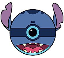 Stitch Pokemon Ball Mash-up Photographic Print
