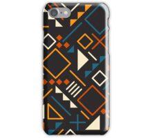 Retro Jumble Geometric Shapes Teal Orange Color Pattern Design iPhone Case/Skin