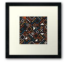Retro Jumble Geometric Shapes Teal Orange Color Pattern Design Framed Print