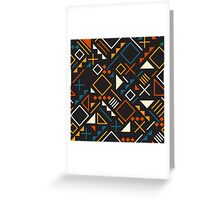 Retro Jumble Geometric Shapes Teal Orange Color Pattern Design Greeting Card