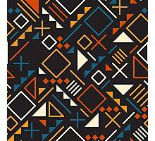 Retro Jumble Geometric Shapes Teal Orange Color Pattern Design Photographic Print