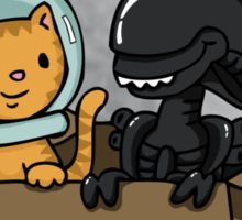Kitten and Alien Sticker