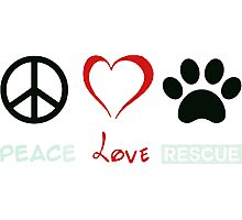 Peace, Love and Paws Dog Lover Rescue Photographic Print