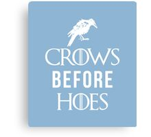 Crows Before Hoes in Blue Canvas Print