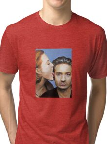 David Duchovny Gillian Anderson X Files Lick Pic Painting Tri-blend T-Shirt