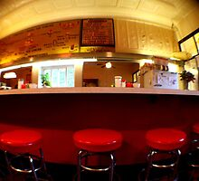Diner Mid West America Illinois Red Stool Fine Art Urban Photography by RedCoatStudio