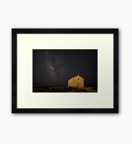 A Huge Galaxy and a Tiny Chapel Framed Print