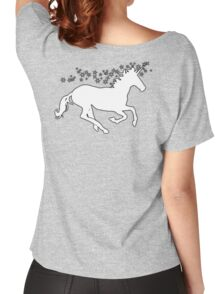 UNICORN, in black, Heraldry, Horse, Legend, Myth, Mythology, Tale, Story, fable, fiction, folklore, lore,  Women's Relaxed Fit T-Shirt