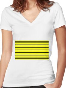 Horizontal Black - Yellow Lines Women's Fitted V-Neck T-Shirt