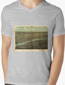 Vintage Pictorial Map of East Saginaw MI (1876) Mens V-Neck T-Shirt