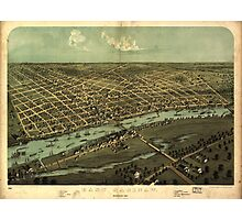 Vintage Pictorial Map of East Saginaw MI (1876) Photographic Print