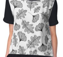Black and white leaves. Chiffon Top