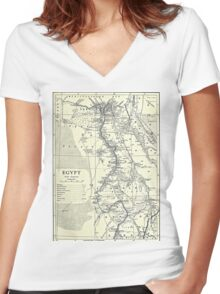Vintage Map of Egypt (1911) Women's Fitted V-Neck T-Shirt