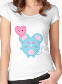 Cute Blue Mouse Women's Fitted Scoop T-Shirt