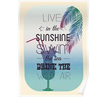 Tropical Beach Theme summer time art with cocktail Poster