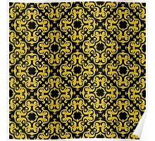 Retro Gold Ornaments Pattern Poster