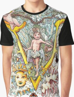 The Illustrated Alphabet Capital V (Fuller Bodied) Graphic T-Shirt