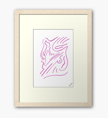 0801 - Simplification in pure Pink Framed Print