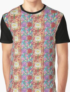 Stained Glass Flowers Graphic T-Shirt