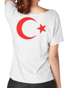 RED CRESCENT MOON, & Star, TURKEY, Crescent Moon, Flag of Turkey, Turkish Flag, Star, Pure & Simple on RED Women's Relaxed Fit T-Shirt