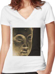 East - Dan ART Spiritual Buddha Sculpture Women's Fitted V-Neck T-Shirt
