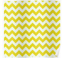Beautiful bright yellow retro Chevron pattern  Poster