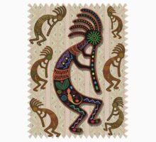 Kokopelli Rainbow Colors on Tribal Pattern  Kids Tee
