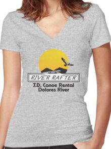 J.D. Canoe Rental Dolores River Women's Fitted V-Neck T-Shirt