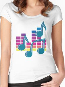 Music Notes 80s Women's Fitted Scoop T-Shirt