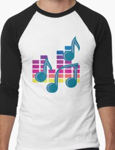 Music Notes 80s Men's Baseball ¾ T-Shirt