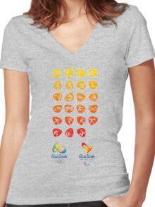 Pictogram rio 2016 Women's Fitted V-Neck T-Shirt