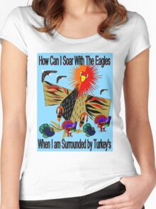 """SOARING WITH EAGLES"" Abstract Comical Print Women's Fitted Scoop T-Shirt"