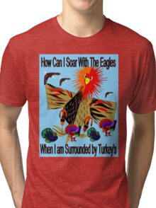 """SOARING WITH EAGLES"" Abstract Comical Print Tri-blend T-Shirt"