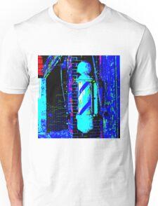 RainbowConfetti Barber Pole VINTAGE in Blue Tones Unisex T-Shirt