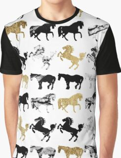 Gold and Black and White Marble Modern Horses Graphic T-Shirt