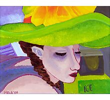 Girl with Big Green Hat Photographic Print