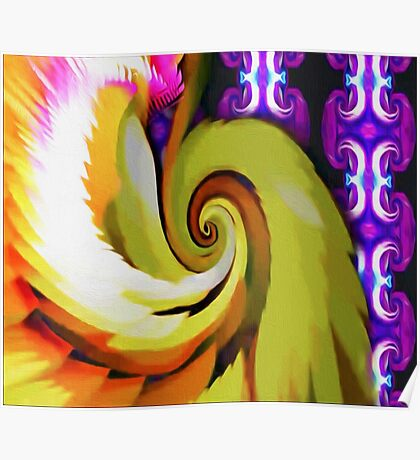 Green and Purple Swirl Poster