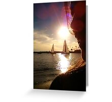 Selfie  Sailboats at Sunset  - Winter in Newport Beach Greeting Card