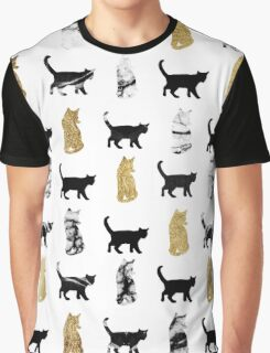 Kitty Cats in Gold and Black and White Marble Graphic T-Shirt