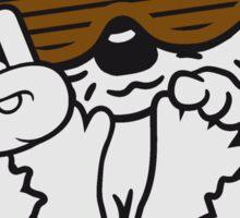 heavy metal funky hard rock hand zeichen symbol party dj kopfhörer tanzen musik sonnenbrille cool club disko winken baby kugel süßer kleiner niedlicher igel  Sticker