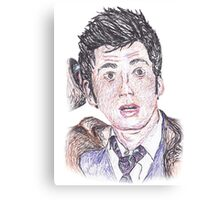 David Tennant, Tenth Doctor - Pen Drawing Canvas Print