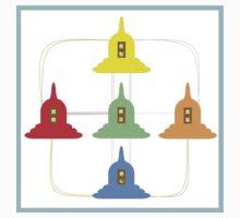 5 Buddhism Stupas One Piece - Short Sleeve