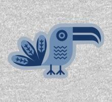 Toucan, bird, birdy, blue, vector, shapes Kids Tee