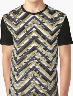 Black and White Marble and Gold Chevron Zigzag Graphic T-Shirt
