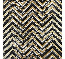 Black and White Marble and Gold Chevron Zigzag Photographic Print