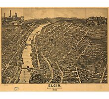 Vintage Pictorial Map of Elgin Illinois (1880) Photographic Print