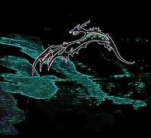 Glowing dragon flying over water by drknice