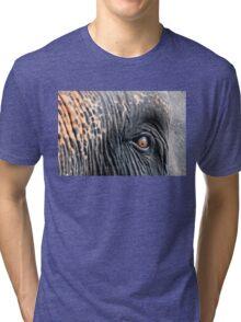 Close-up shot of Asian elephant eye Tri-blend T-Shirt