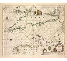 Vintage Map of The English Channel (1672) Photographic Print