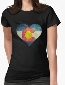 Heart Colorado American flag retro style best funny t-shirt Womens Fitted T-Shirt